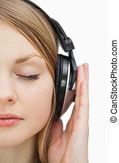 終わり, 音楽, の上, 閉じられた目, 女, 聞くこと