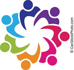 組合, ロゴ, ベクトル, チームワーク, 人々