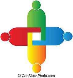 組合, ロゴ, ベクトル, チームワーク