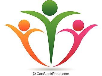 組合, ロゴ, 概念, 家族, 幸せ