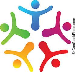 組合, 人々, ロゴ, ベクトル