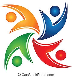 組合, swooshes, チームワーク, ロゴ