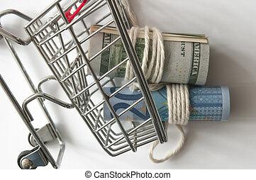 結ばれた, 回転した, 買い物, 現金, リボン, ミニ, cart.
