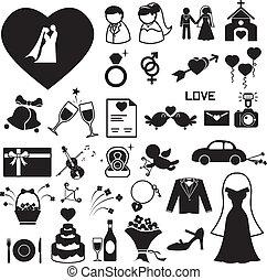 結婚式, アイコン, セット, eps, イラスト