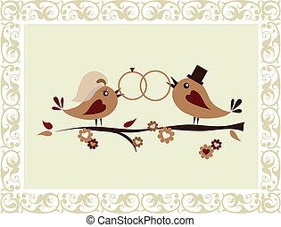 結婚式, 鳥, 招待