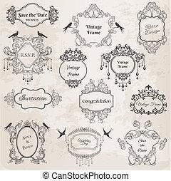 結婚式, elements-, 型, -, 招待, 挨拶, ベクトル, birthday, スクラップブック, フレーム, デザイン