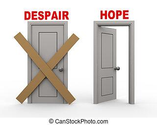 絶望, 希望, ドア, 3d