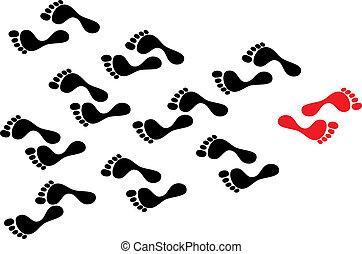 続く, 概念, 群集, ショー, follows., 足跡, 足跡, 流れ, に対して, 個性, 人, 間, 断固とした, 黒, 潮, 方法, 道, 取られる, 暴動, リーダー, 赤