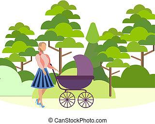 網, 使用, 英雄, 旗, 平ら, carriage., 母, 等大, infographics, images., 森林, 歩く, 赤ん坊, ミニマリスト, raster, style., 缶