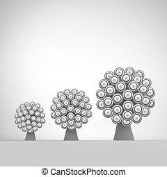 網, 媒体, 抽象的, 木。, ネットワーク, 社会, コミュニケーション, リーダーシップ, ベクトル, 技術, 3d, illustration., ビジネス, 概念, design.