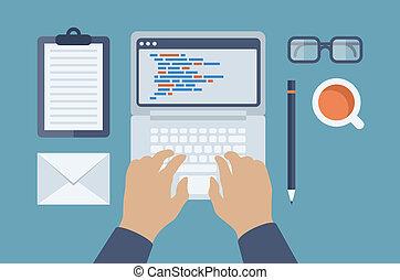 網, html, プログラミング, イラスト, 平ら