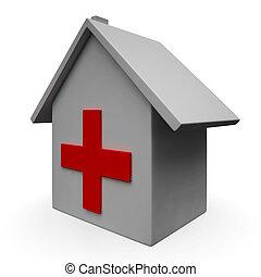 緊急事態, 医学医院, アイコン, 病院, ショー