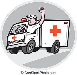 緊急事態, 救急車ドライバ, 振ること, 車, 漫画