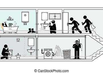 緊急応答, あふれられる, 速く, 浴室