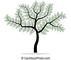 緑の木, leafage., vector.