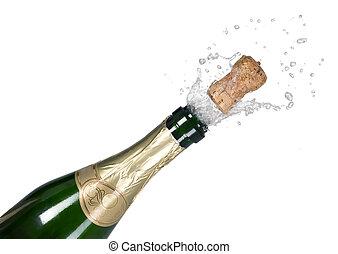 緑, シャンペン, 爆発, びん, コルク