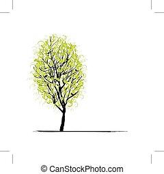 緑, デザイン, 木, 若い, あなたの