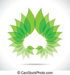 緑, 創造的, 葉, アイコン