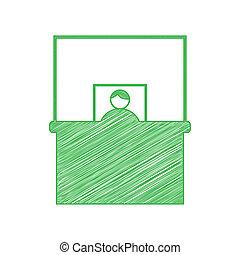 緑, 固体, 机, 落書き, 印。, アイコン, バックグラウンド。, illustration., 情報, 輪郭, 白