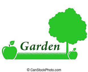 緑, 庭, 背景, アップル