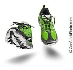 緑, 靴, スポーツ, 隔離された, 動くこと, 白