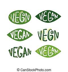 緑, vegan, ロゴ, セット