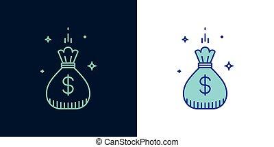 線である, お金, 袋, ベクトル, style., アイコン