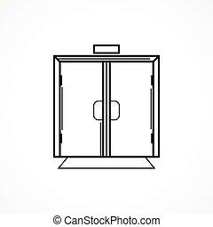 線, ベクトル, 黒, ガラス ドア, アイコン, 屋内