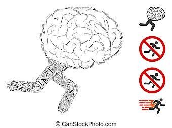 線, 動くこと, コラージュ, ベクトル, アイコン, 脳