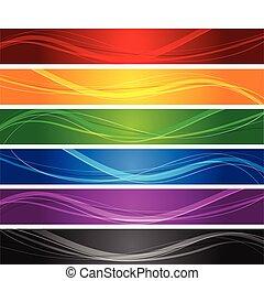 線, 波状, 旗, カラフルである