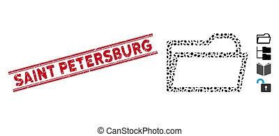 線, 聖者, petersburg, フォルダー, モザイク, 切手, 苦脳, 開いた, アイコン