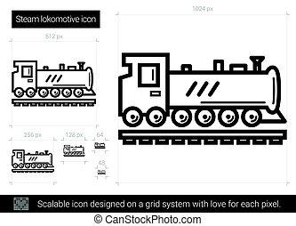 線, 蒸気, icon., 機関車