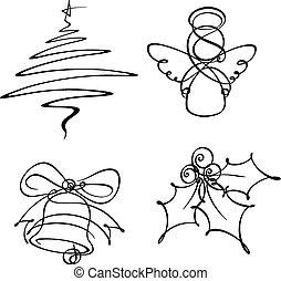 線, 4, 単一, クリスマス, アイコン