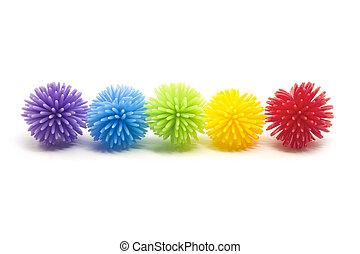 線, stess, ボール, カラフルである, 5, koosh
