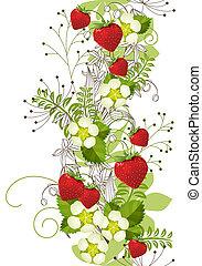 縦, パターン, seamless, 花, いちご, 野生