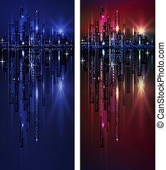 縦, 都市, 旗, 夜, スカイライン