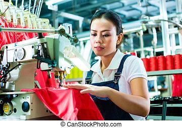 織物, お針子, 工場, 中国語