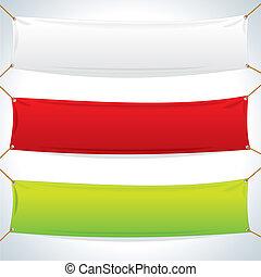 織物, banners., ベクトル, テンプレート, イラスト