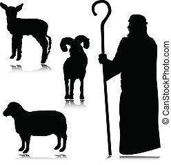 羊飼い, シルエット, ベクトル