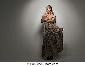 美しい女性, カクテル, 優雅である, 服, コーカサス人