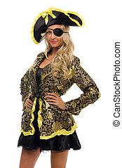 美しい女性, カーニバル, 形。, costume., 海賊