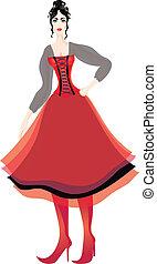 美しい女性, コルセット, multilayer, プッと吹き出した, スカート