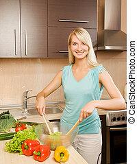 美しい女性, サラダボール, 若い, ガラス, 野菜, 混合