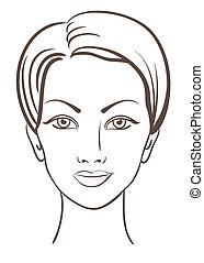 美しい女性, ベクトル, イラスト, 顔