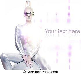 美しい女性, モデル, cyber, ボール, 銀
