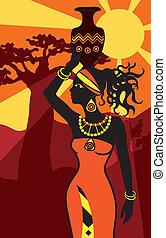 美しい女性, 日没, アフリカ
