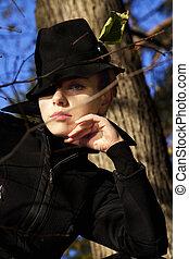美しい女性, 若い, 黒, 流行, 帽子