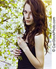 美しい, さくらんぼ, 女の子, ブルネット, 咲く