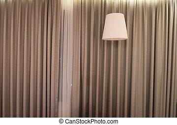 美しい, カーテン, 天井ランプ