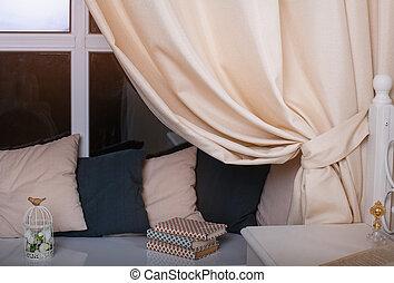美しい, カーテン, 窓, 枕, 部屋